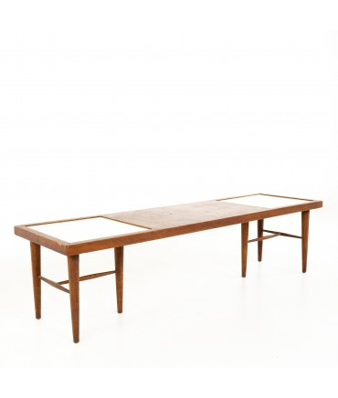 Merton Gershun for American of Martinsville Mid Century X Inlaid Walnut and White Laminate Coffee Table