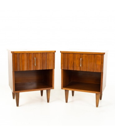 United Style Young Manufacturing Mid Century Walnut and Brass Nightstands - Pair