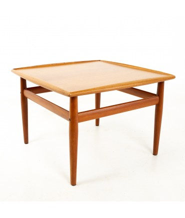 Grete Jalk for France & Son Mid Century Danish Teak Side Coffee Table with Brass Accents