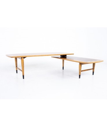 Andre Bus for Lane Acclaim Mid Century Walnut and Oak Dovetail Switchblade Coffee Table