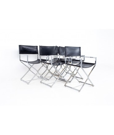 Alessandro Albrizzi Style Mid Century Naugahyde and Chrome Directors Chairs - Set of 6