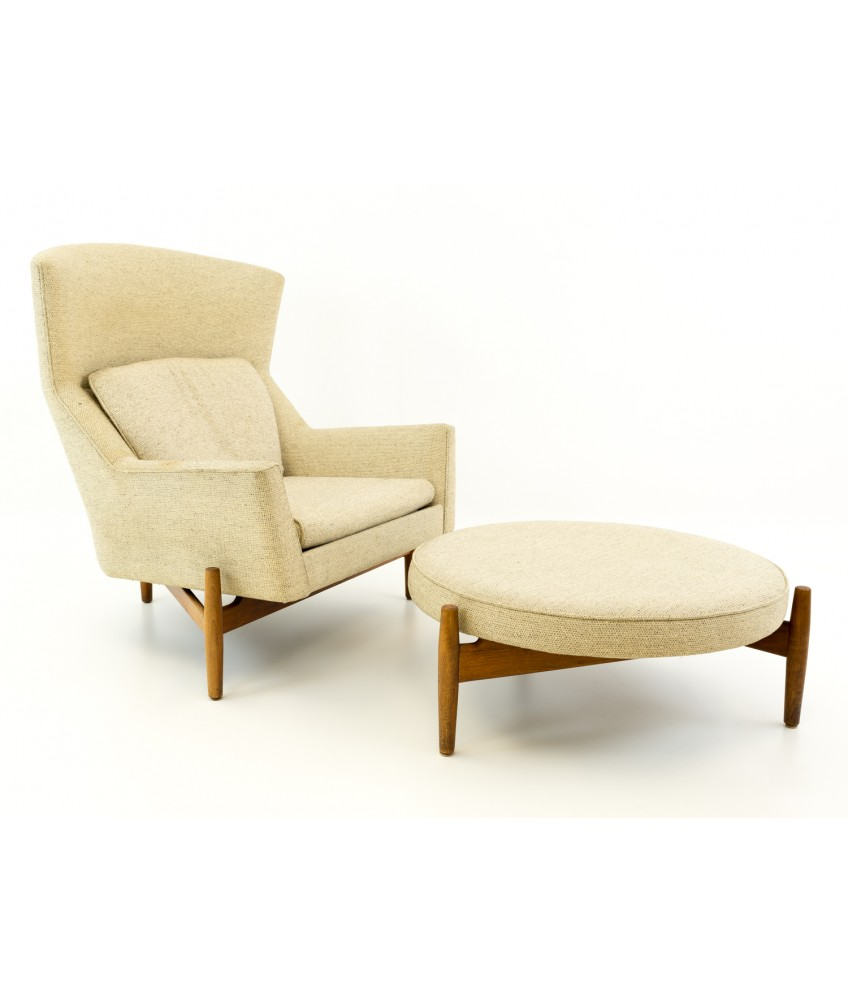 mid century modern chair with ottoman