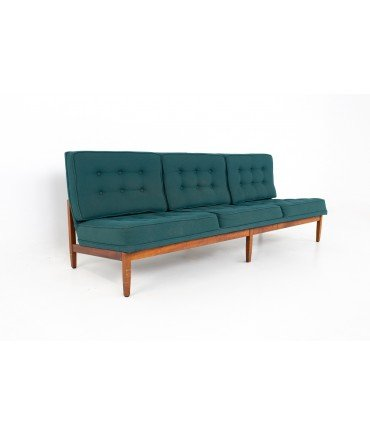 Early Florence Knoll Mid Century Parallel Bar Walnut and Teal Green Daybed Slipper Sofa