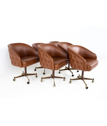 Ward Bennet Style Mid Century Brass Tufted Swivel Club Chairs - Set of 6