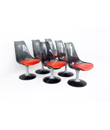 Chrome Craft Mid Century Smoked Lucite Dining Chairs - Set of 6