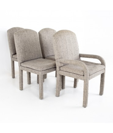 Milo Baughman Style Mid Century Grey Parsons Chairs - Set of 4