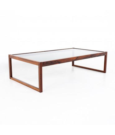 Mid Century Rosewood and Glass Coffee Table