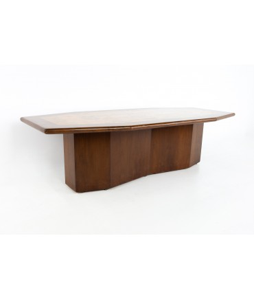 Mid Century Hexagonal Burlwood and Walnut Pedestal Conference Dining Table