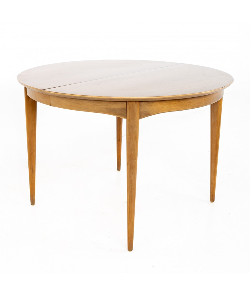 Century Furniture Mid Century Round Oval Expanding Walnut Dining Table