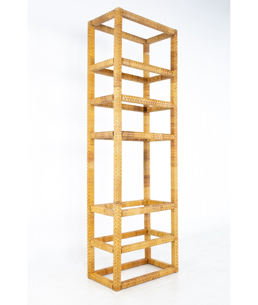 Mid Century Tall Cane and Glass Etagere Shelf