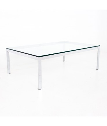Knoll Style Mid Century Glass and Chrome Coffee Table