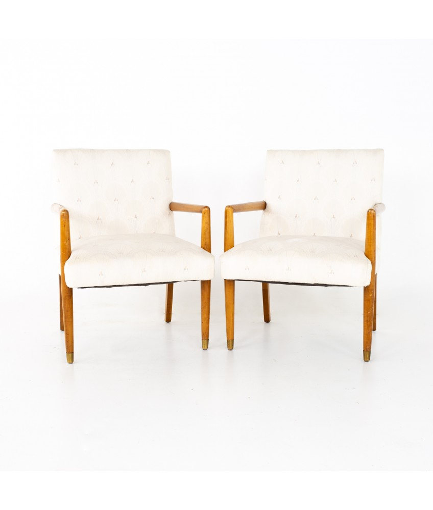 Robsjohn Gibbings Style Mid Century Occasional Lounge Chairs - A Pair
