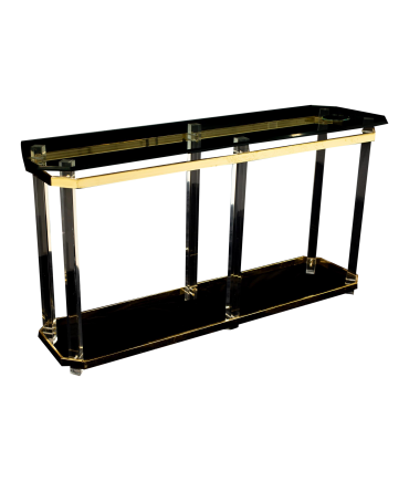 Charles Hollis Jones Mid Century Brass and Lucite Foyer Entry Console Sofa Table