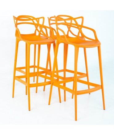 Kartell Master Mid Century Bar Stools Philippe Stark Orange - Set of 4