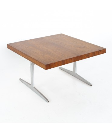 Mid Century Rosewood and Aluminum Sleigh Base Side Table