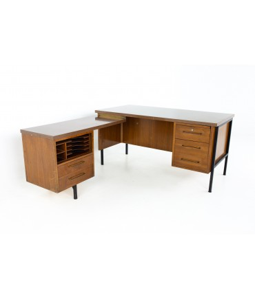 George Nelson Style Mid Century Walnut, Rattan and Wood Laminate L Shaped Executive Desk