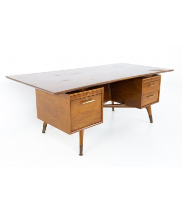 Standard Furniture Company Mid Century Bowtie Walnut Brass and Cane Desk