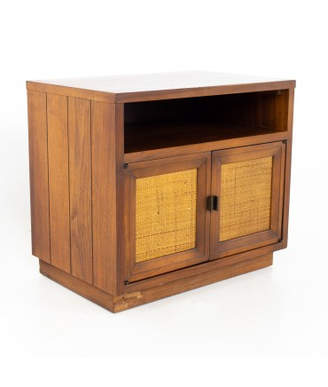 Lane Mid Century Walnut and Cane Plinth Based Nightstand