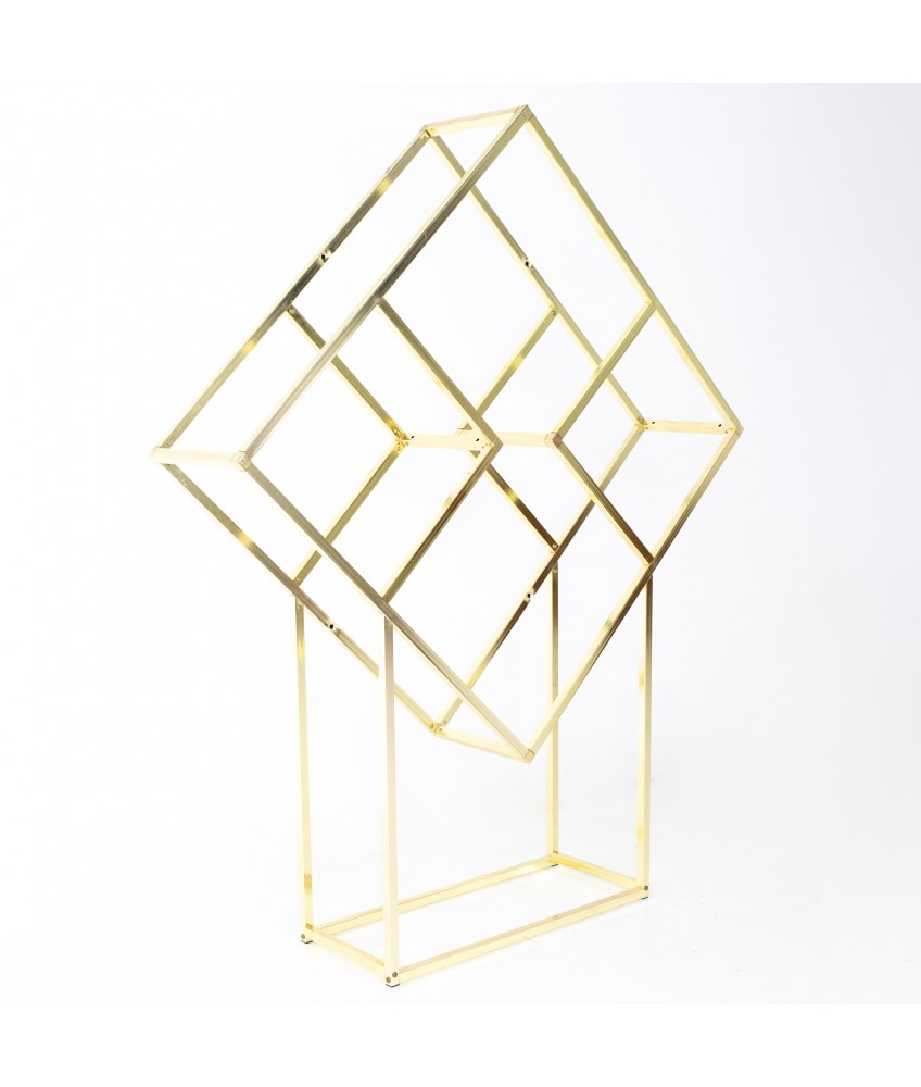 Milo Baughman Style Mid Century Brass and Glass Diamond Etagere