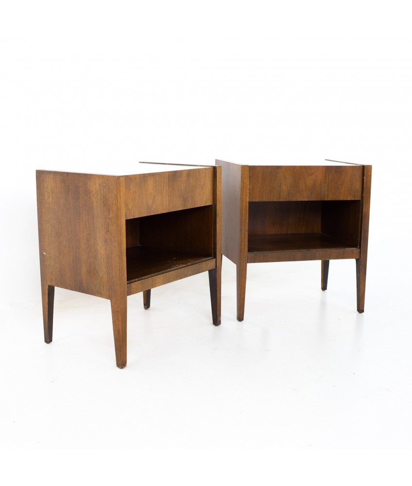 Mid Century Walnut and White Laminate Nightstands - A Pair