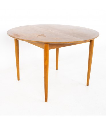Morganton Mid Century Round Oval Expanding Walnut Dining Table with 3 Leaves