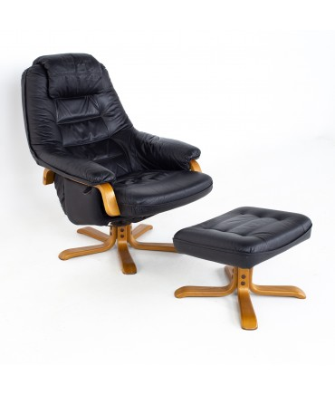 Swedish Gote Mobel Mid Century Black Leather Swivel Lounge Chair and Ottoman