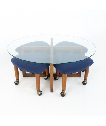 Adrian Pearsall Mid Century Walnut and Glass Coffee Table and Ottoman Set