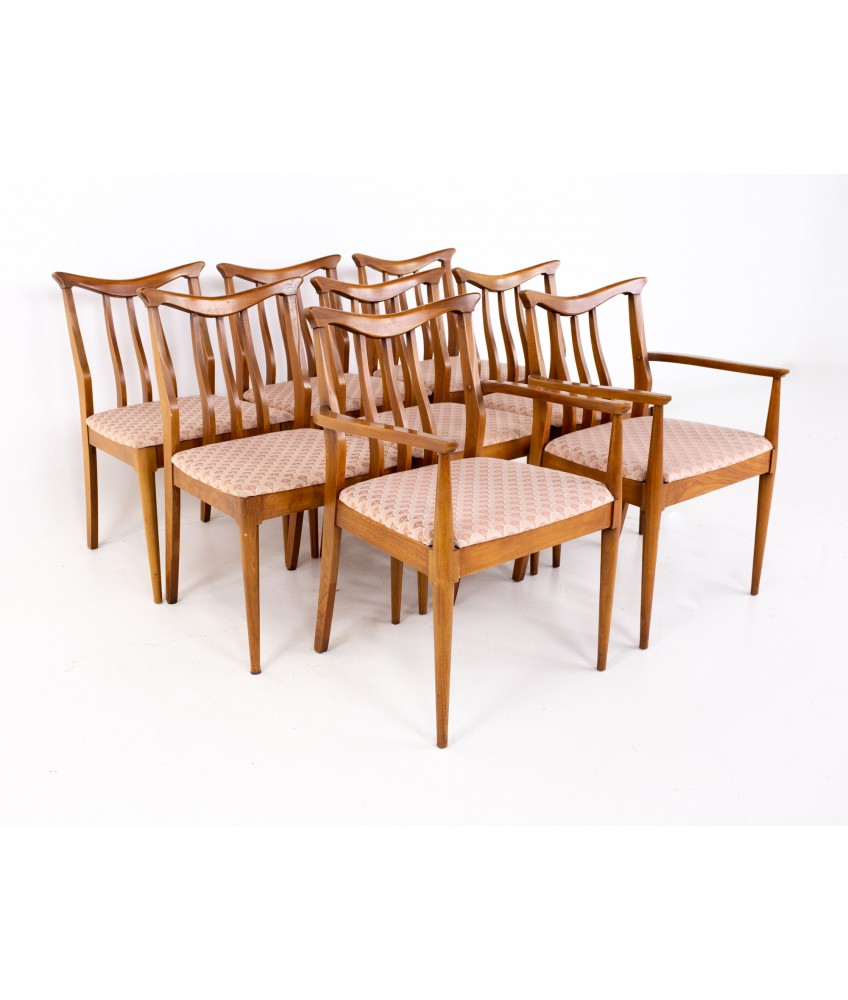 Blowing Rock Mid Century Walnut Dining Chairs - Set of 8