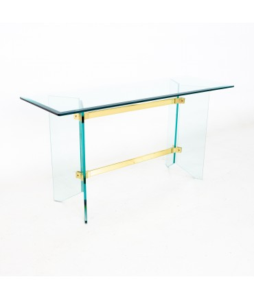 Pace Mid Century Brass and Glass Foyer Entry Console Table