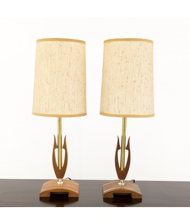 Mid Century Teak and Brass Lamps - Matching Pair