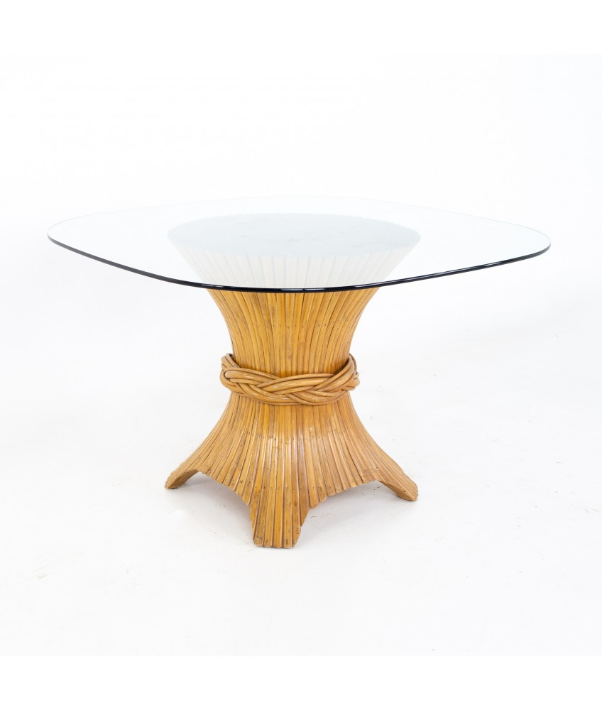 McGuire Mid Century Bamboo Sheath Glass Dining Table