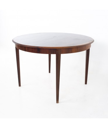 Dyrlund Mid Century Rosewood Expanding Round Oval Dining Table