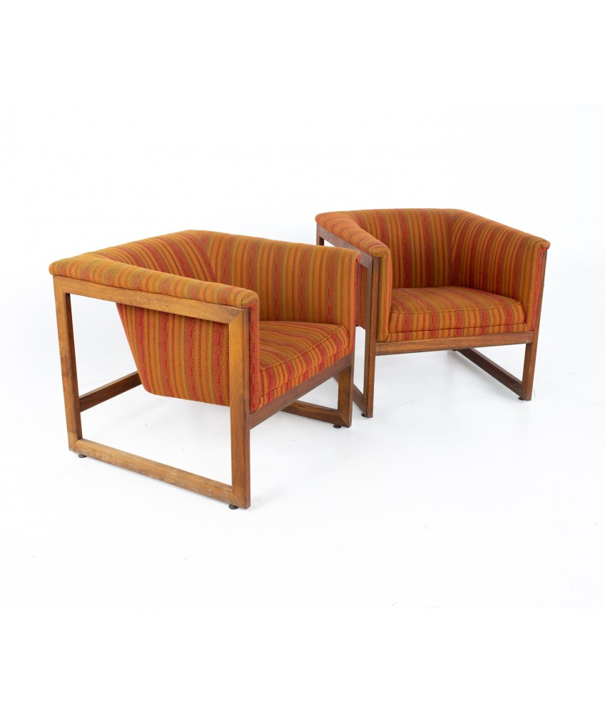 Milo Baughman Style Mid Century Monarch Floating Club Cube Lounge Chairs - A Pair