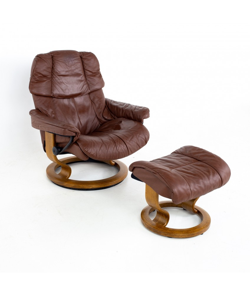 Ekornes Stressless Paloma Mid Century Reclining Swivel Leather Lounge Chair and Ottoman