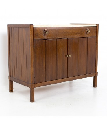 Drexel Mid Century Walnut Travertine Marble and Brass Bar Record Credenza