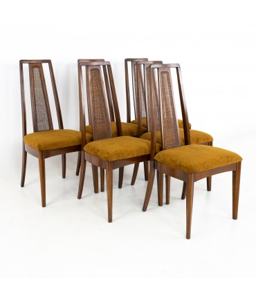Broyhill Emphasis Mid Century Walnut and Cane Highback Dining Chairs - Set of 6