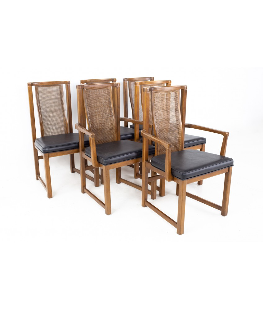 Mid Century Walnut and Cane Dining Chairs - set of 6