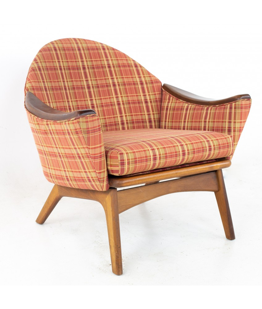 Adrian Pearsall for Craft Associates 1806-C Mid Century Lowback Walnut Lounge Chair