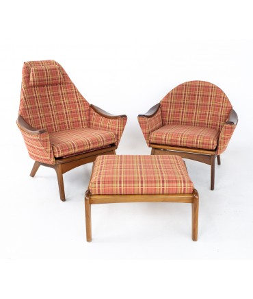 Adrian Pearsall for Craft Associates 1808-C Highback and 1806-C Lowback Mid Century Walnut Lounge Chair with Ottoman