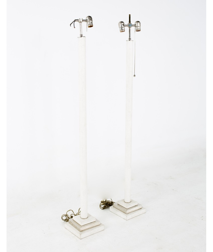 Karl Springer Style Mid Century Faux Ostrich Floor Lamps