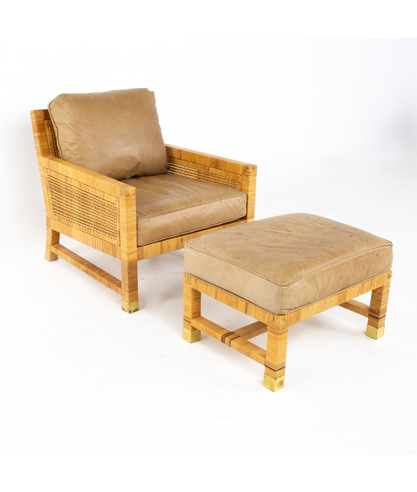 Bielecky Brothers Mid Century Wicker Chair and Ottoman