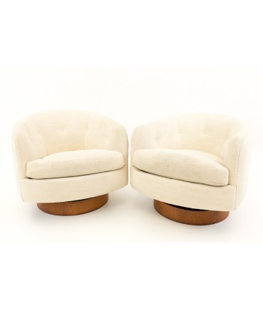 Milo Baughman for Thayer Coggin Swivel Barrel Chairs - Pair