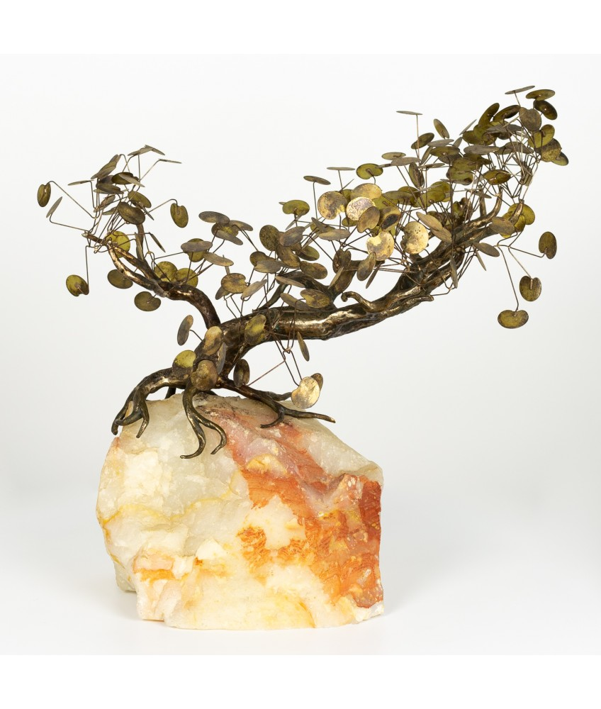 Curtis Jere Brass and Marble Bonsai Tree Sculpture