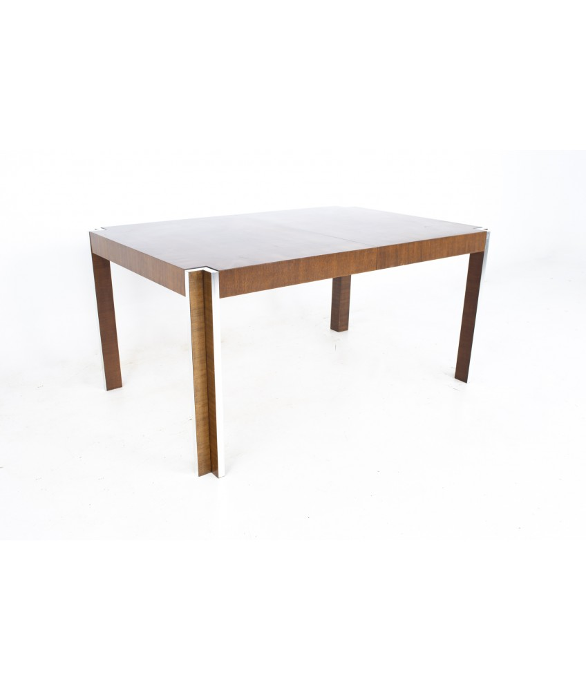 Thomasville Mid Century Walnut and Chrome Inlaid Expanding Dining Table
