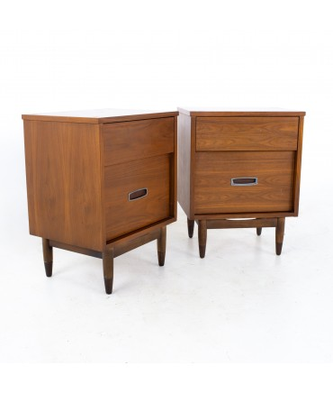 Mainline by Hooker Mid Century Walnut and Stainless Nightstands - A Pair