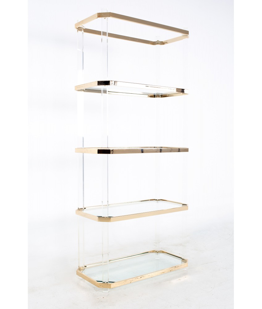Charles Hollis Jones Style Mid Century Brass and Lucite Etagere