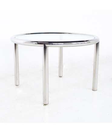 Milo Baughman Style Mid Century Chrome and Glass Round Coffee Table