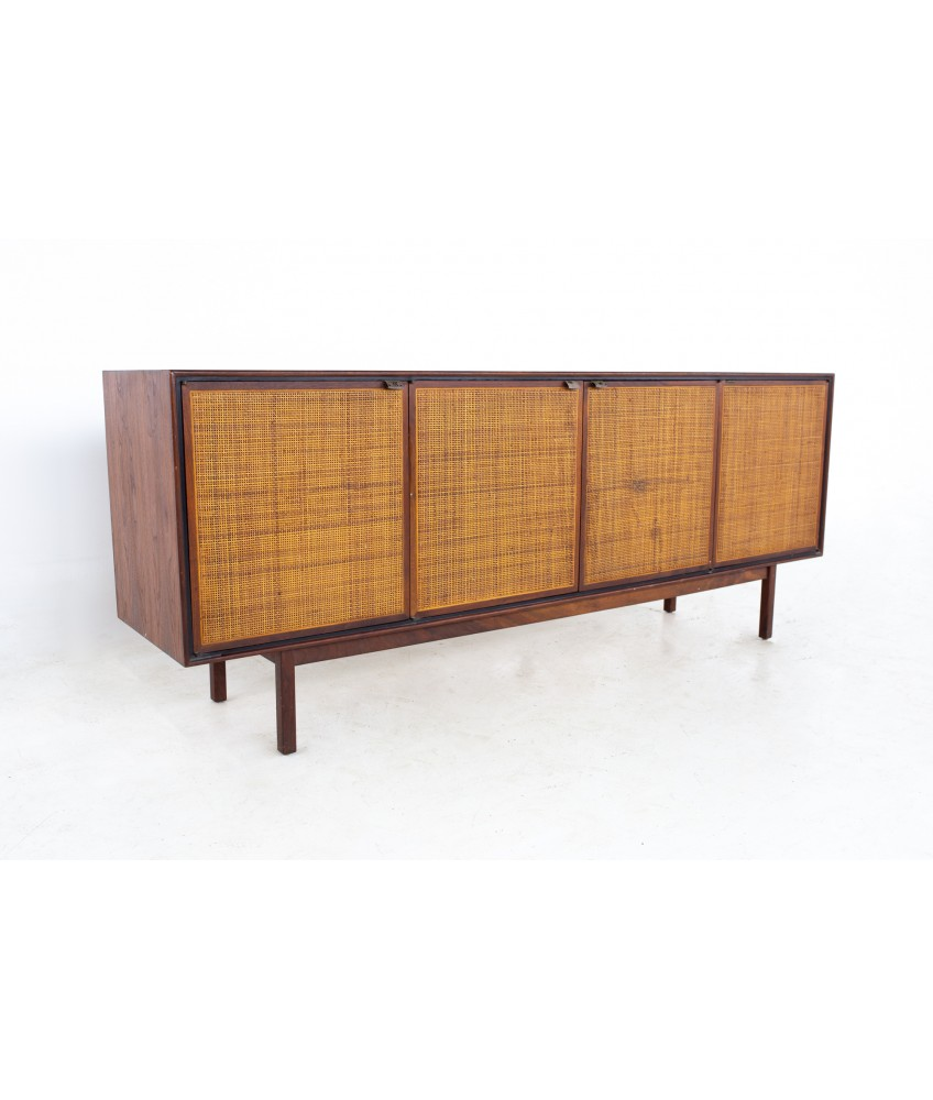 Founders Mid Century Walnut and Cane Sideboard Credenza