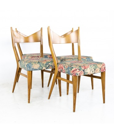 Paul McCobb for Calvin Mid Century Bowtie Walnut Dining Chairs - Set of 4