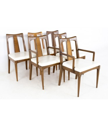 Ramseur Mid Century Walnut and Cane Dining Chairs - Set of 6